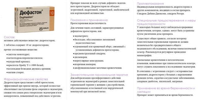 Дюфастон: инструкция по применению препарата с 16 по 25 день цикла, показания к использованию и противопоказания